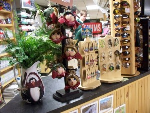 Ornaments for on the tree and underneath at Country Goods and Groceries of East Wakefield New Hampshire