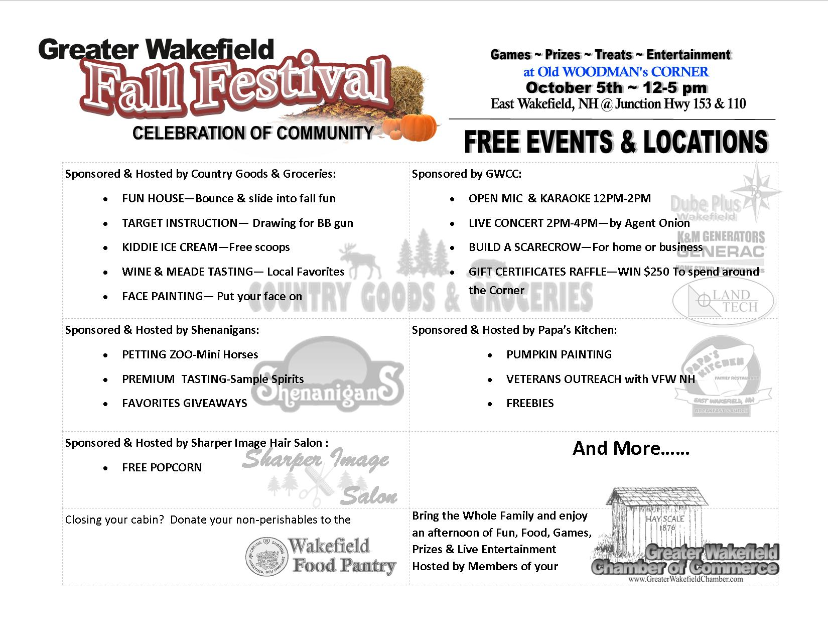 FALL FESTIVAL LIST OF EVENTS
